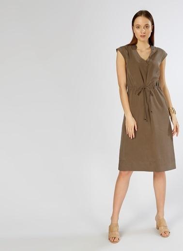 Fabrika V Yaka Kolsuz Midi Elbise Haki